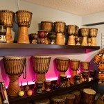 Shaw Percussion Store Djembe display