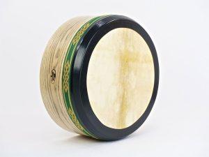 "14""-Woodgrain-Ash-Bodhran-Green Gold trim"