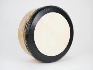 Woodgrain 14 Inch Bodhran Black & Gold Bingo Knot Trim 1