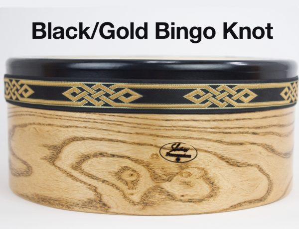 Bodhran -Black Gold Bingo Knot Trim